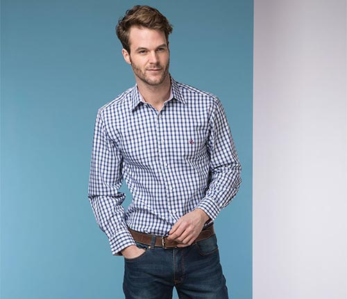 Oscar Blue Oxford Cotton Shirt