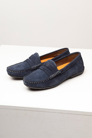 Ladies Navy Suede Driving Loafers