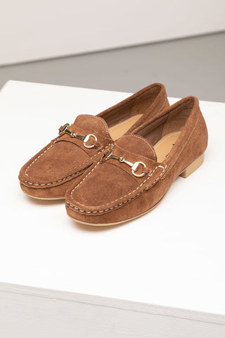 Ladies Tan Suede Loafers