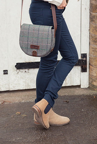 Tweed Saddle Bag with Suede Boots