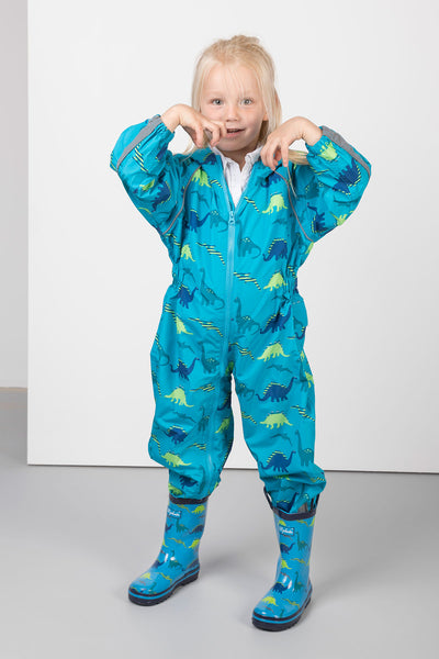 Dinosaur Blue - Junior Patterned Splash Suit