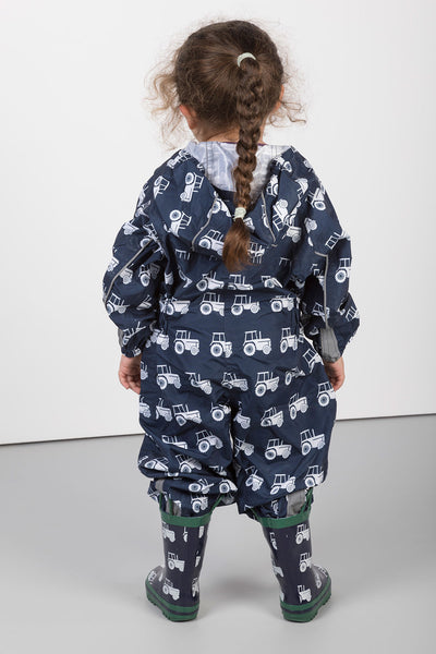 Tractor Navy - Junior Patterned Splash Suit