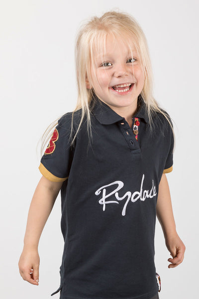 Navy - Rydale Juniors Girls Cropton Cotton Polo Shirts