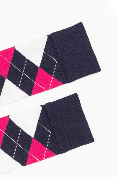 Navy - Argyle Knee Length Socks