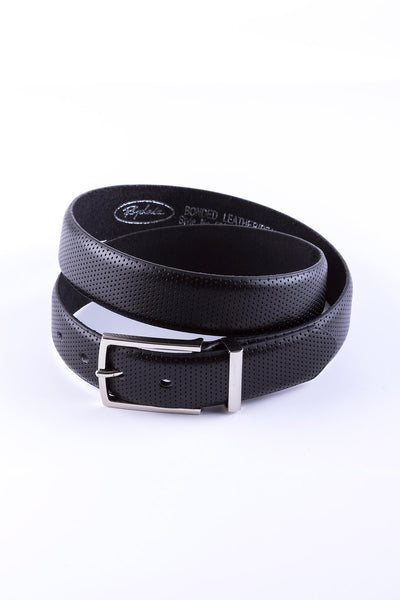 Black - Perforated Leather Belt 5024