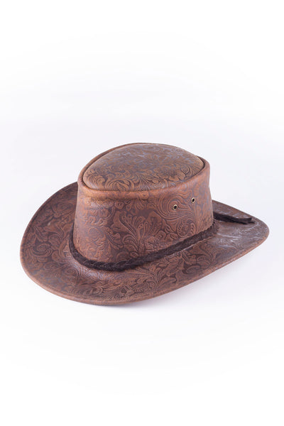 Brown - Australian Leather Hat Floral Pattern