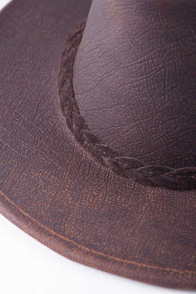 Brown - Australian Teardrop Shaped Leather Hat