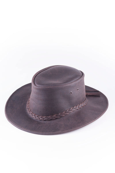 Brown - Australian Textured Leather Hat