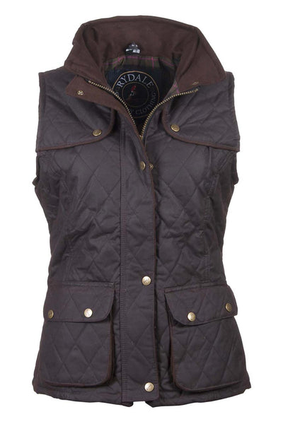 Brown - Ladies Diamond Quilted Wax Waistcoat with Elasticated Back
