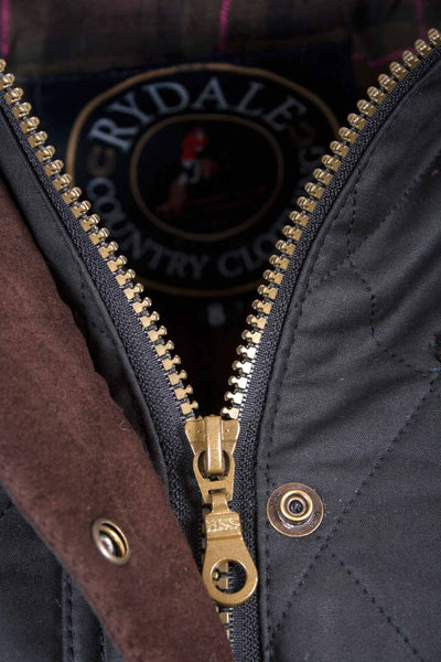 Black - Rydale Diamond Quilted Waxed Jacket