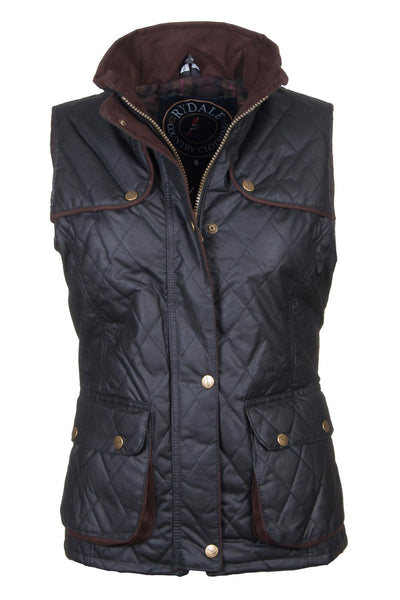 Black - Ladies Diamond Quilted Wax Waistcoat with Elasticated Back