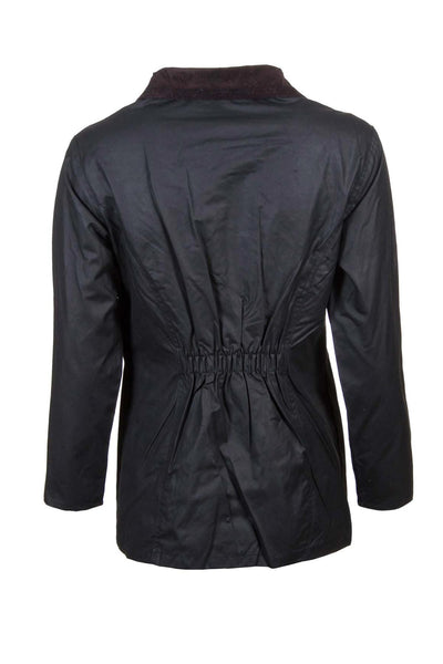 Black - Rydale Ladies Waxed Cotton Jacket with Elasticated Back