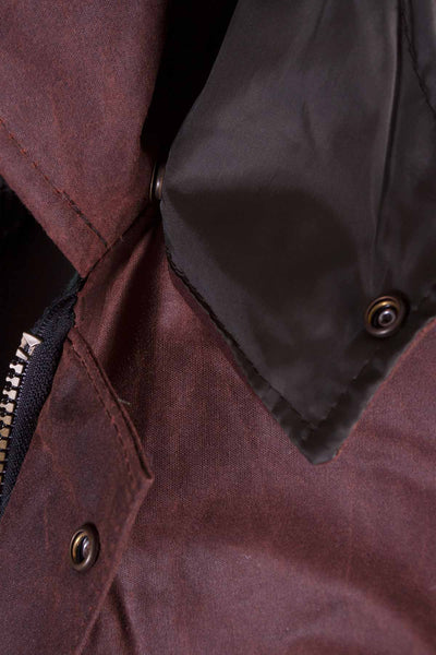 Brown - Junior Hooded Waxed Jacket