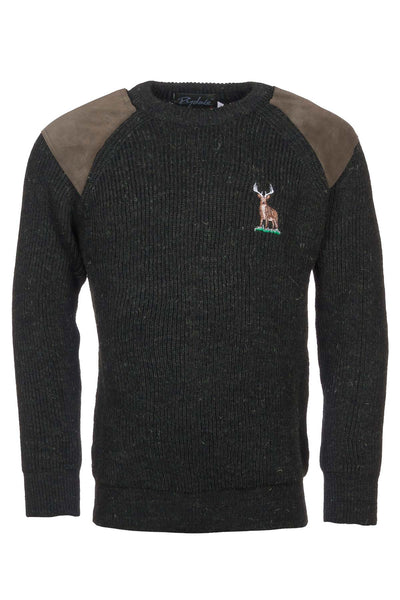 Olive Stag - Chunky Crew Neck Jumper