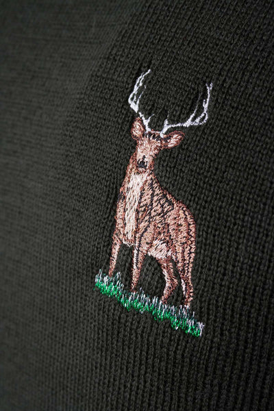 Olive Stag - Smooth Knit Jumper