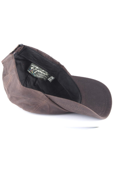 Brown - Mens 100% Waxed Cotton Country Baseball Cap