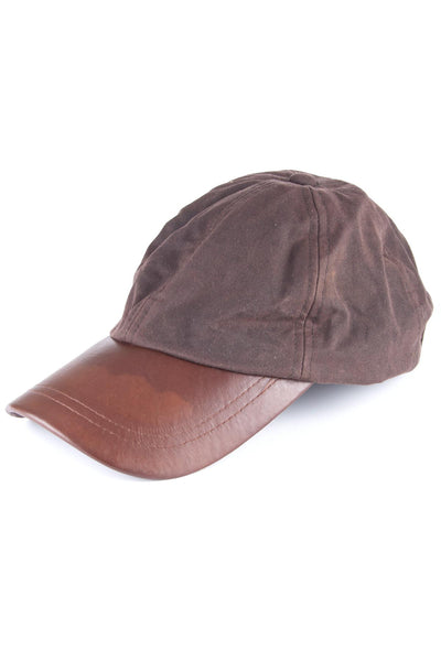 Brown - Mens 100% Waxed Cotton Country Baseball Cap with Leather Peak