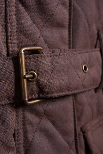 Brown - Rydale Belted Diamond Quilted Waxed Jacket