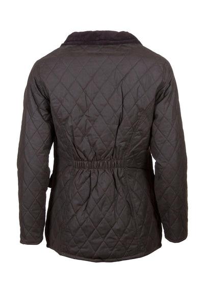 Olive - Diamond Quilted Wax Jacket Elastic back