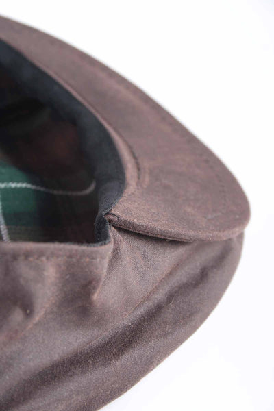 Brown - Mens 100% Waxed Cotton Country Flat Cap