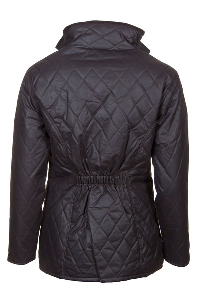 Brown - Ladies Diamond Quilted wax jacket elasticated back