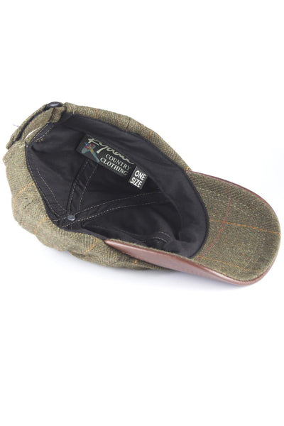 Dark Check - Mens Country Tweed Baseball Cap with Leather Peak