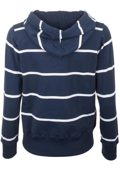 Navy / White - Ladies Hoop Stripe Hoody