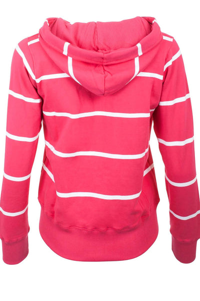 Ruby / White - Ladies Hoop Stripe Hoody