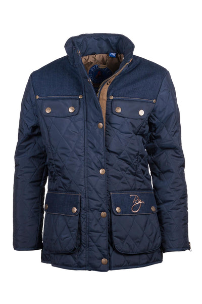 Navy - Rydale Junior Denim Trim Quilted Biker Babe Jacket