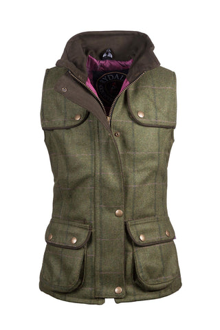 Olive/Pink - Rydale Juniors Girls Tweed Waistcoat Bodywarmer