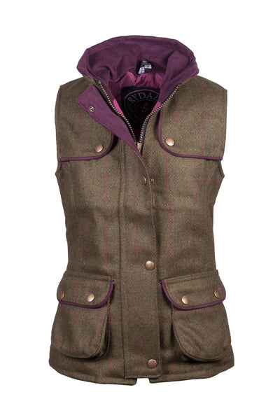 Plum - Rydale Juniors Girls Tweed Waistcoat Bodywarmer
