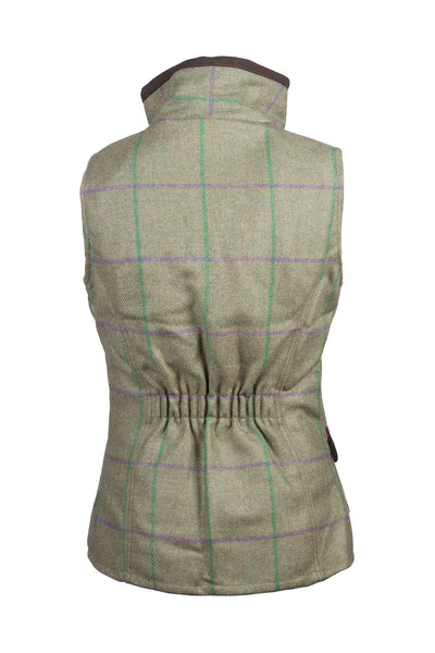 Purple/Green - Rydale Juniors Girls Tweed Waistcoat Bodywarmer