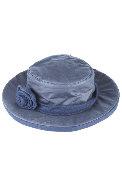 Navy - Waxed Cotton Rose Hat