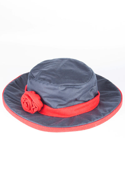 Red - Waxed Cotton Rose Hat