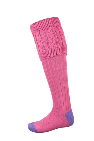 Pink/Lilac - Ladies Cable Knit Socks