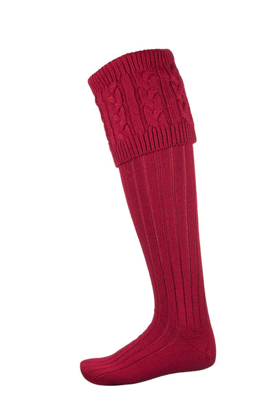 Red - Ladies Cable Knit Socks