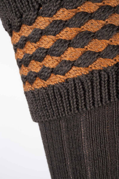 Olive/Gold - Ladies Diamond Knit Socks