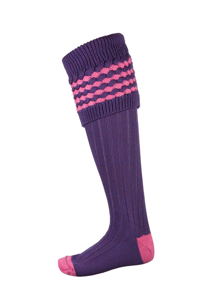 Purple/Pink - Ladies Diamond Knit Socks