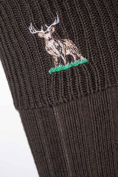 Olive Stag - Ladies Motif Socks