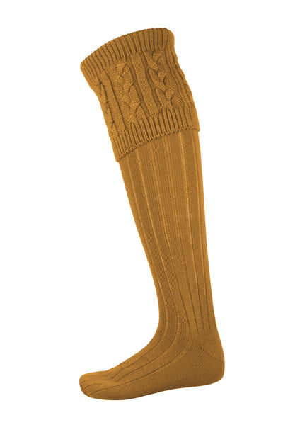 Gold - Mens Cable Knit Socks