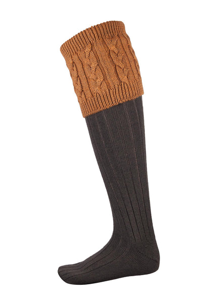 Olive/Gold - Mens Cable Knit Socks