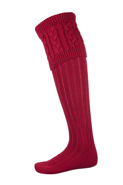 Red - Mens Cable Knit Socks