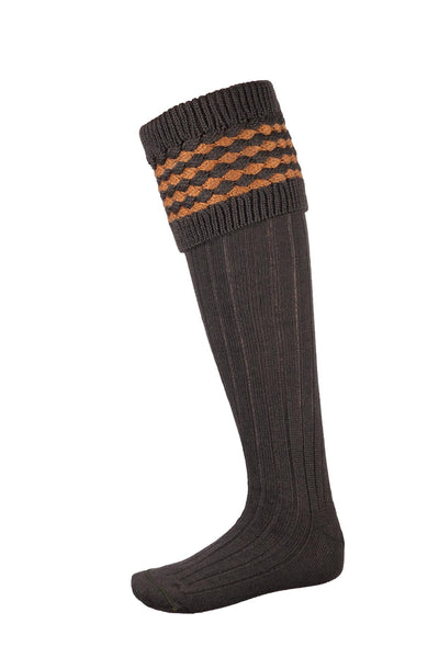 Olive/Gold - Mens Diamond Knit Socks
