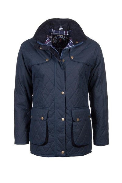 Navy - Diamond Quilted Wax Jacket Elastic back