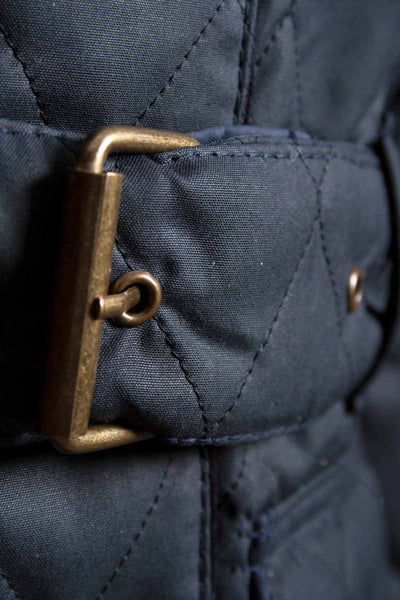 Navy - Rydale Belted Diamond Quilted Waxed Jacket