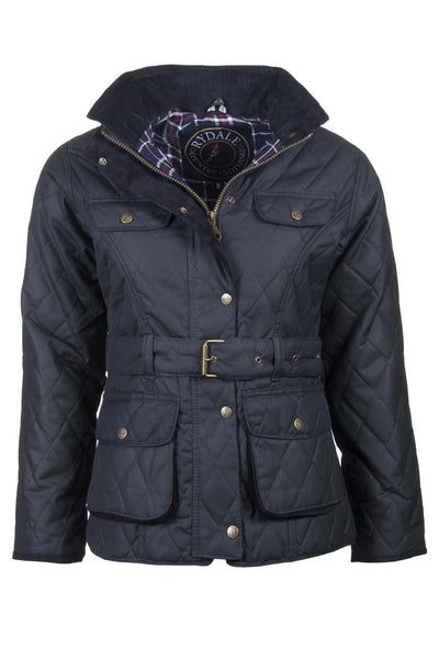 Navy - Belted Diamond Quilted Waxed Cotton Jacket
