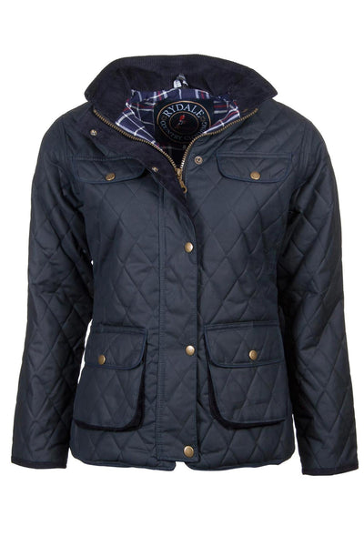 Navy - Rydale Ladies Diamond Quilted Wax Cotton Jacket