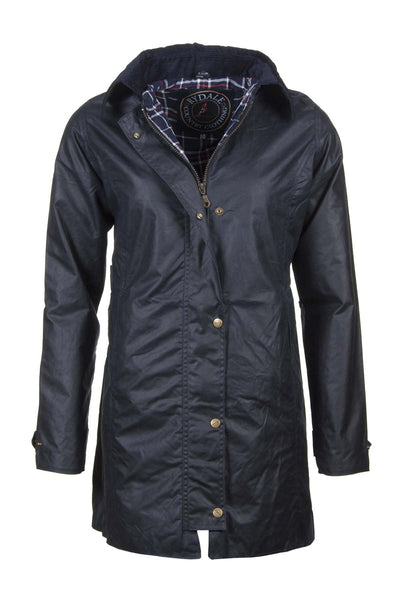 Navy - Hannah long wax jacket