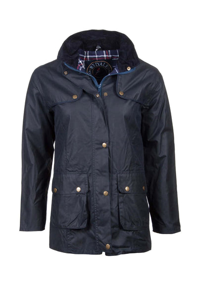 Navy - Rydale Ladies Waxed Cotton Jacket with Elasticated Back