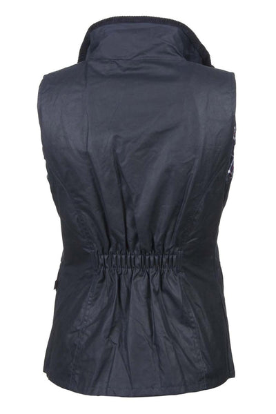 Navy - Ladies 100% Waxed Cotton Waistcoat with an Elasticated Back